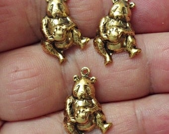 Set of 4 Vintage gold plated brass stamping funny pig charms pendant , Jewelry Making made in USA /U17