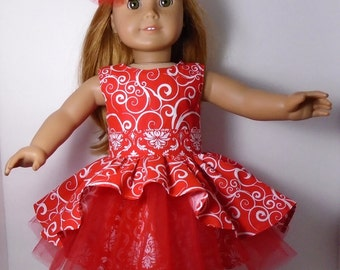 """18"""" Doll Clothes fit American Girl Flirty Asymetrical Tiered Party Dress with Headband RED SWIRL"""
