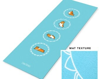 "Blue Corgi Yoga Mat | 1/4"" Thick, 72"" x 24"" Workout Yoga Exercise Mats available in Red, Tricolor, Blue Merle, Brindle Corgi Colors"