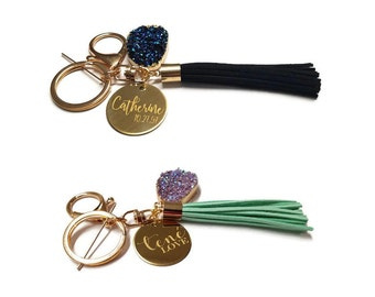 Personalized Keychain with Gold Plated Pendants
