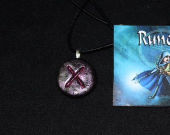 Gebo The Love Rune Stone Talisman Amulet And Leather Necklace