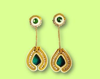 Earring/earrings/pendientes green mustard Soutache
