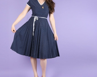 80s Vintage Navy Pin Dot Dress