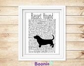 Basset Hound Print Art Work Typography On A4 Top Quality Card 10x8