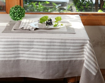 Striped linen tablecloth, natural linen tablecloth with natural border