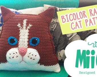 Bicolor Ragdoll Cat Pillow Crochet Pattern