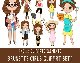 20% OFF Brunette girl clipart set 1, Brunette girl illustration, cute girl clipart, beautiful girl, Instant Download PNG file 300 dpi