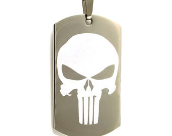 Personalized Stainless Steel Laser Etched Punisher Skull Dog Tag Necklace