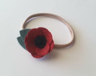 Felt Flower Headband, Felt Flower Hair Clip, Simple Poppy Flower, CUSTOM COLORS or Maker's Choice