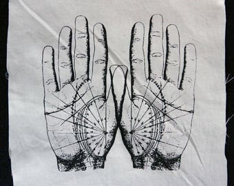 Screenprinted Fortune Telling Hands patch