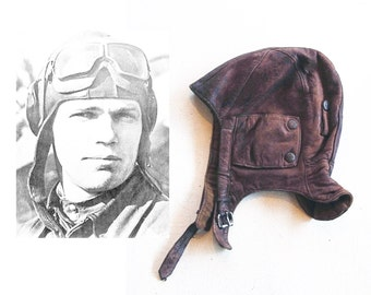 RARE original wwII pilot leather helmet | 30s 40s soviet/russian aviator helmet | authentic vintage military collectible | russian military