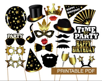 PRINTABLE PDF Birthday Photo Booth Props - PDF file - Black and Gold - Birthday party - Mustaches, Lips, Glasses - Instant Download -