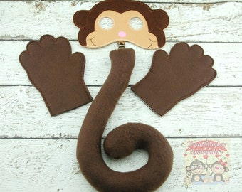 Monkey Costume - Monkey Mask - Monkey Tail - Halloween Costume - Dress Up - Pretend Play