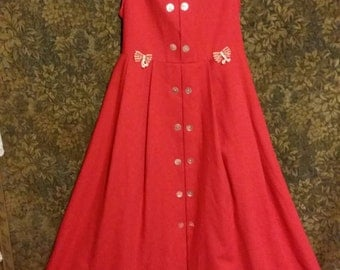 Girls 10 year - An adorable little girl tomato red vintage dress,of quality, from the late 80's.