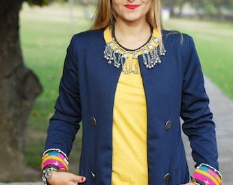 Blazer Boho Style / Ethnic Blazer / Blazer blue with greek button