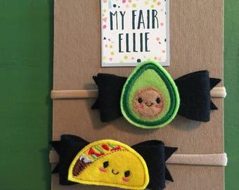 Taco Tuesday Bow - Taco Tuesday Headband - Taco Tuesday Felties - Taco Bow - Taco Felties - Avocado Bow - Avocado Felties