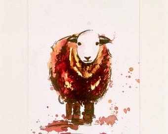 Mary the Sheep. Ink drawing on paper. Hand painted.