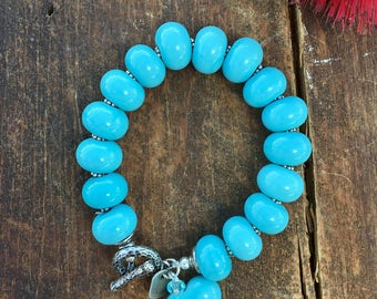 Glass Bead Bracelet. Tiffany Blue Bracelet. Sterling Silver Toggle Bracelet. Glass Bracelet. Lampwork Bracelet. Heart Pendant Bracelet.