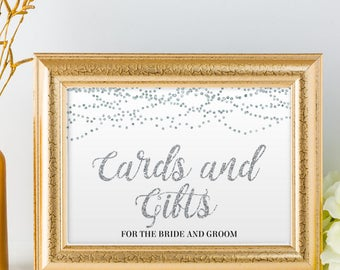 "Printable Silver Foil Look Cards and Gifts String Lights Wedding or Event Sign, 2 Sizes: 10""x8"" and 7""x5"", Editable PDF, Instant Download"