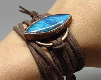Gifts for Her - Gemstone Jewelry - Boho Chic - Leather Wrap Bracelet - Rustic Jewelry - Labradorite Bracelet - Labradorite Wrap Bracelet
