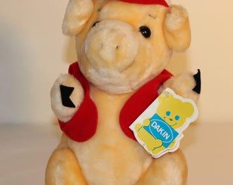 Vintage Pig Plush, Vintage Dakin Plush, Piggy Plush, Pig Stuffed Animal