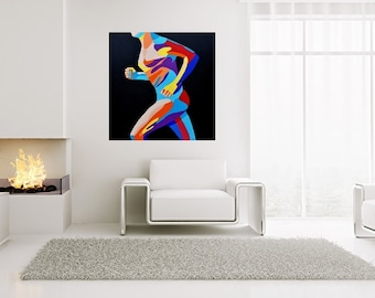 running free shipping fine art print man strong muscle Poster Art Print drawing modern art wall decoration print picture painting
