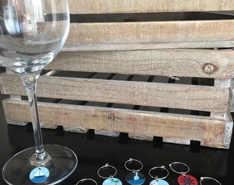 12 Nautical Wine Glass Charms/Wine Glass Favors/Barware/Nautical Gifts/Wine Lover Gifts/Nautical Bar Accessories/Nautical Wine Charms/Unique