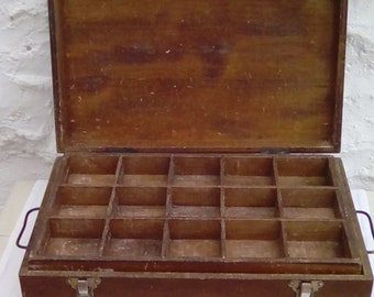 Vintage French box with lift out compartments, games, tools, sewing, medicine container.