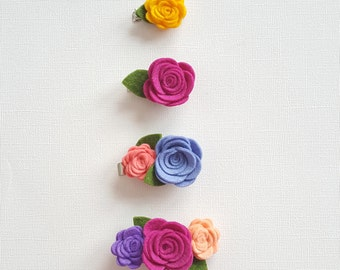 Felt Flower Clips // Baby Girl Hair clips, Barrettes, Clippies, Pigtail Sets