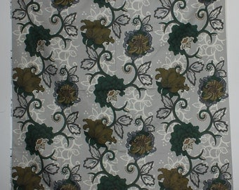 """Lovely Fabric """"Grandiflora"""" with printed floral pattern in green and brown. Designed by Maria Bryngemark for Kinnamark, Sweden Scandinavian."""