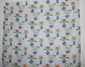Sweet vintage retro Fabric: white base with colorful flowers in vases. Made in Sweden Scandinavian.