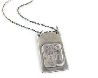 Lavendula *  Artisan Necklace, Blackened Sterling Silver Necklace, Rustic Pendant