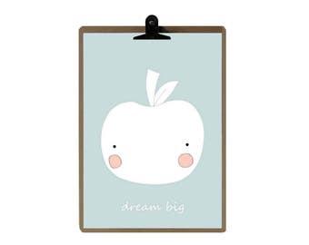Apple nursery print - Blue color Nursery art prints - baby nursery decor - nursery wall - Children Art - Kids Room