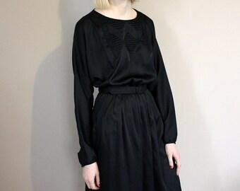 Vintage 80s Grunge St Michael Black Silky Batwing Midi Dress Stitch Detail - Small/Medium