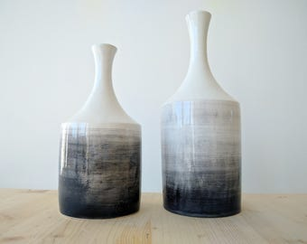 Two Ceramic Vases // Handmade in Italy // Black and White