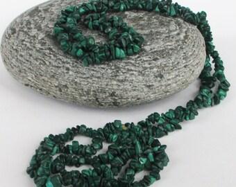 Vintage Malachite Chip Necklace Semi Precious Gemstone