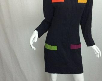 Long Sleeve Black 80s Dress Women's Business Dress with Shoulder Pads Color Block