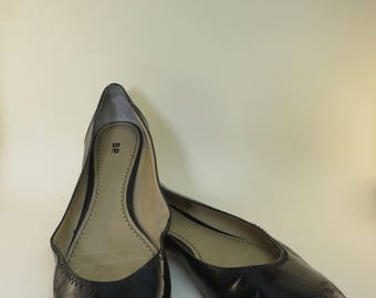 Size 12 Black Patent Ballet Flat Basic Black Shoes Retro Mod Flats