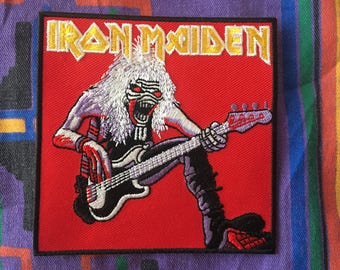 """Iron Maiden (Eddie w/ guitar) iron on embroidered patch (aprox. 3.5"""" x 3.5"""")"""