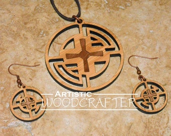 Wooden Cross Necklace and Earring set (Bamboo/Walnut)