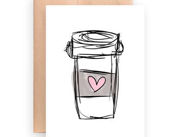 Coffee Card | printable card | instant download | Coffee Cup | birthday card | let's get coffee | cute card | blank card | Best Friend Card