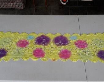 Rainbow Tie Dye Vintage Crochet Lace Doily 100% Cotton