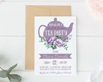 Bridal Shower Tea Party Invitation purple, tea party invite, High tea bridal shower invitations, Tea Party Invites, Digital, printed, lilac