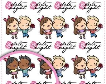 Date Night Kawaii Chibi Character Planner Stickers for Erin Condren, Happy Planner, Passion Planner, Plum Planner... (#55)