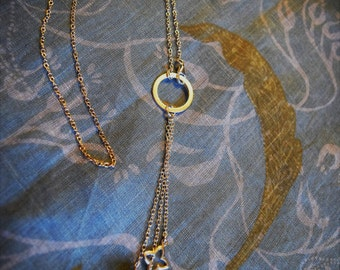 Sterling silver neclace with ring, charm and hemetite pearls