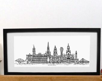 Edinburgh skyline print with mount - Edinburgh print - Black and white Edinburgh mounted print - Scottish print - new home gift
