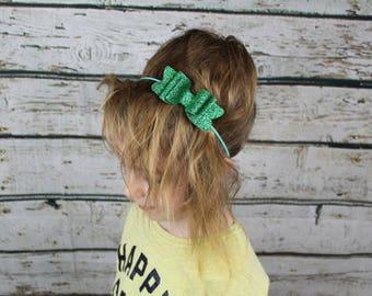 Green Skinny Headband with Glitter Bow