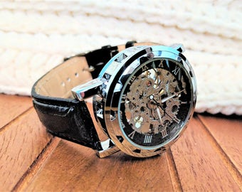 Mechanical watch, man leather watch, steampunk watch movement, mens automatic watch,  engraved watch,personalized watch, skeleton watch gear