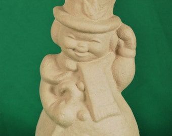 Paper Mache Snowman with Cane by BARE NAKED CRAFTS