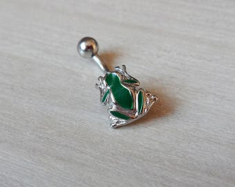 Frog Belly Button Ring, Enamaled Frog Navel Ring, Body Jewelry, Green Belly Button Ring, Frog Navel Ring, Navel Piercing